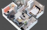 Thiết kế nội thất chung cư 50m2 gam màu xám – trắng