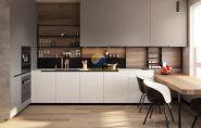 Thiết kế tủ bếp chữ I đơn giản nhưng mang lại công năng tối đa