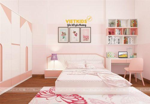 Thiết kế chung cư phòng ngủ màu hồng ngọt ngào cho bé gái