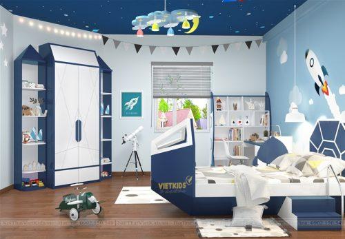 Thiết kế chung cư phòng ngủ trẻ em chủ đề vũ trụ