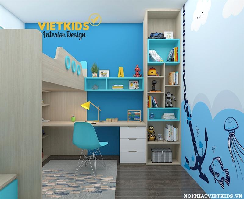 Thiết kế chung cư phòng ngủ cho bé trai