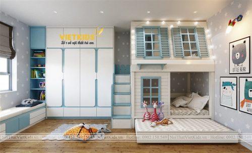 Thiết kế chung cư phòng ngủ trẻ em hoạt hình dễ thương