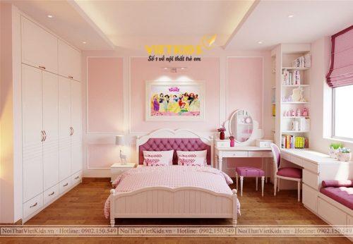 Thiết kế chung cư phòng ngủ công chúa cho bé gái